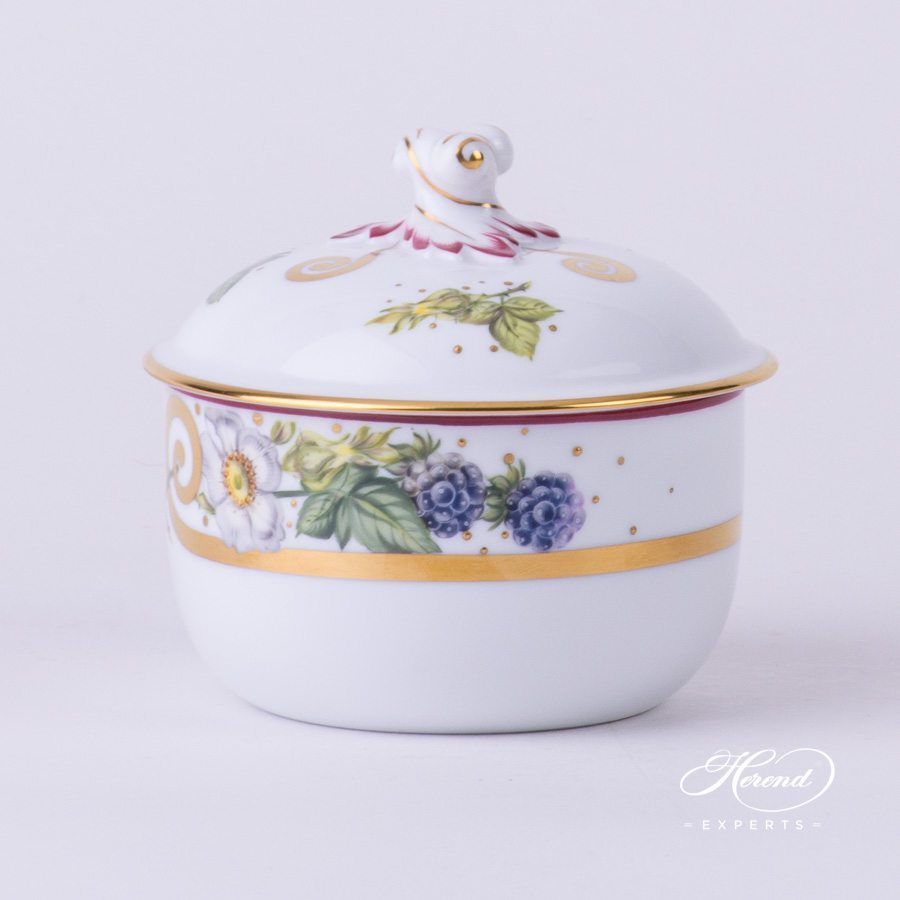 Sugar Basin with Twisted Knob 20462-0-00 FEST Festival of Fruits pattern - Herend porcelain hand painted.