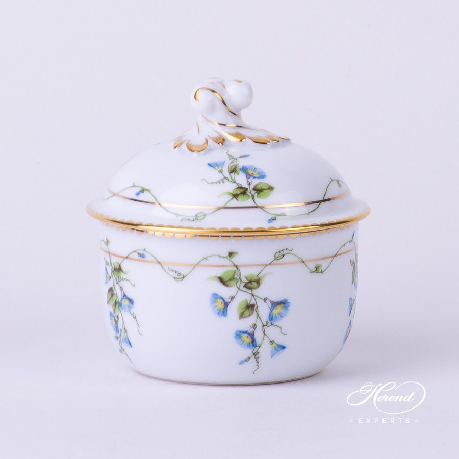 Sugar Basin with Twisted Knob 20463-0-06 NY Nyon - Morning Glory flower pattern - Herend porcelain hand painted.