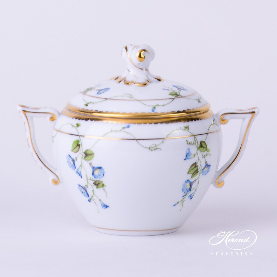 Sugar Basin with Twisted Knob 20472-0-06 NY Nyon - Morning Glory flower pattern - Herend porcelain hand painted.