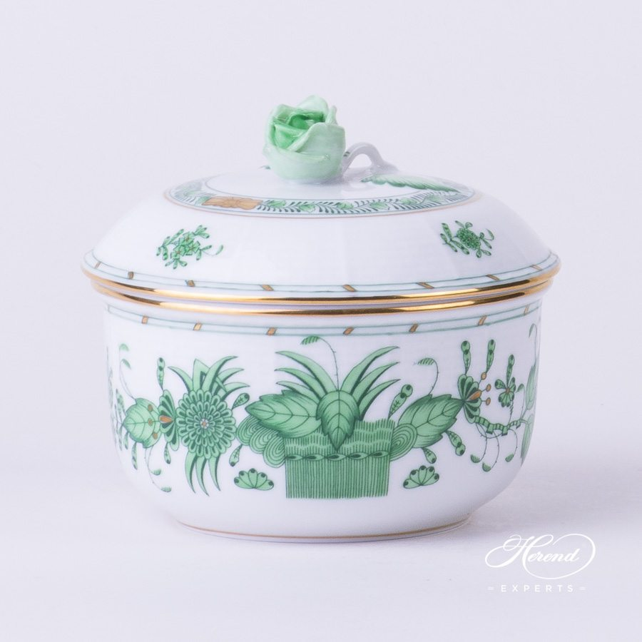 Sugar Basin w.Rose Knob 462-0-09 FV Indian Basket Green pattern. Herend fine china hand painted. Classical style tableware