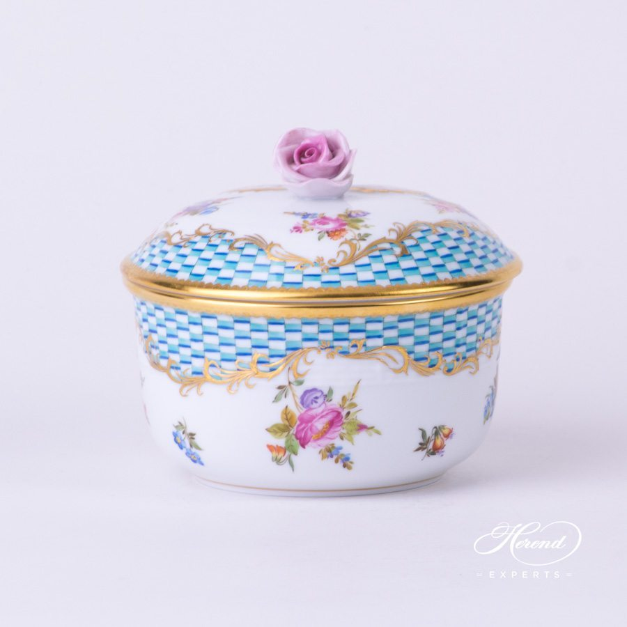 Sugar Basin with Rose Knob 462-0-09 CBTA Flowers and Blue Scales pattern - Herend porcelain hand painted.