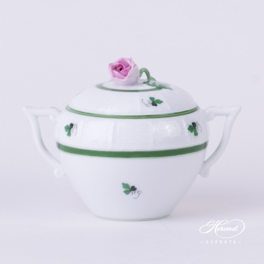 Sugar Basin w. Rose Knob 471-0-09 VRH Vienna Rose / Viennese Rose Green pattern. Herend fine china hand painted