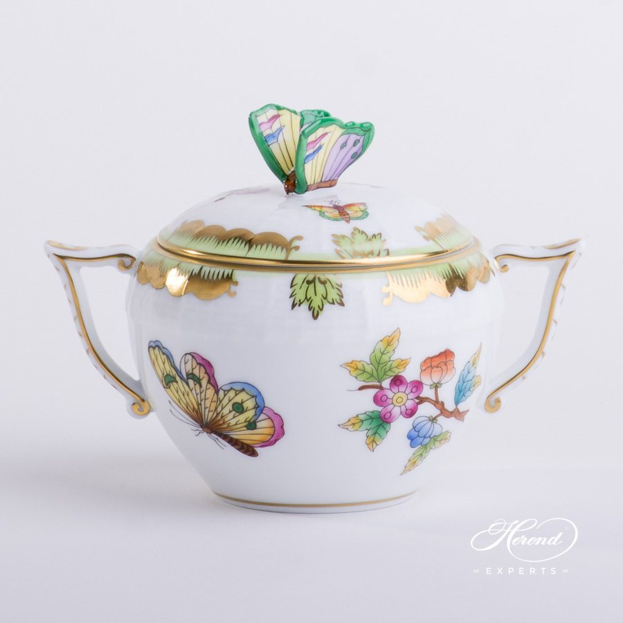 Sugar Basin w. Butterfly Knob 472-0-17 VBO Queen Victoria design. Herend fine china tableware. Hand painted