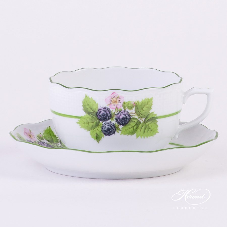 Tea Cup Berried Fruits BAC decor - Herend porcelain hand painted.
