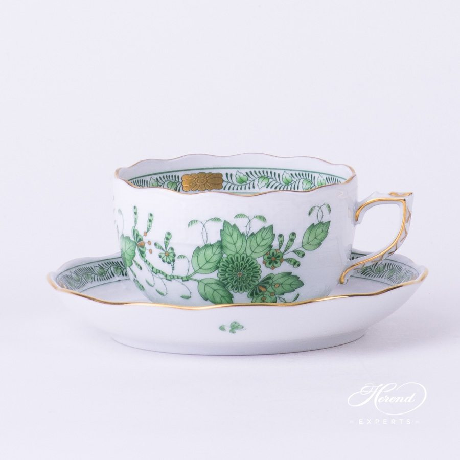 Tea Cup with Saucer 724-0-00 FV Indian Basket Green pattern - Herend fine china hand painted.