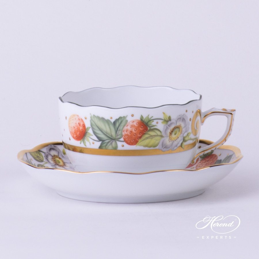 Tea Cup with Saucer 20724-0-00 FEST Festival of Fruits pattern - Herend porcelain hand painted.
