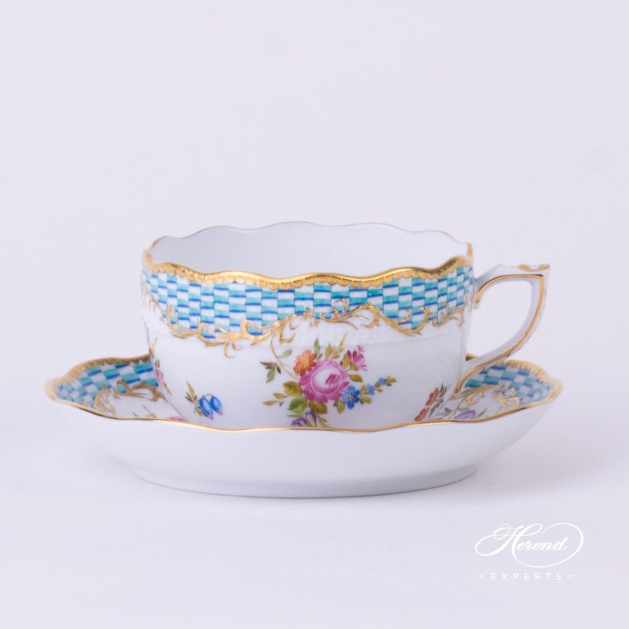 Tea Cup with Saucer 724-0-00 CBTA Flowers and Blue Scales pattern - Herend porcelain hand painted.