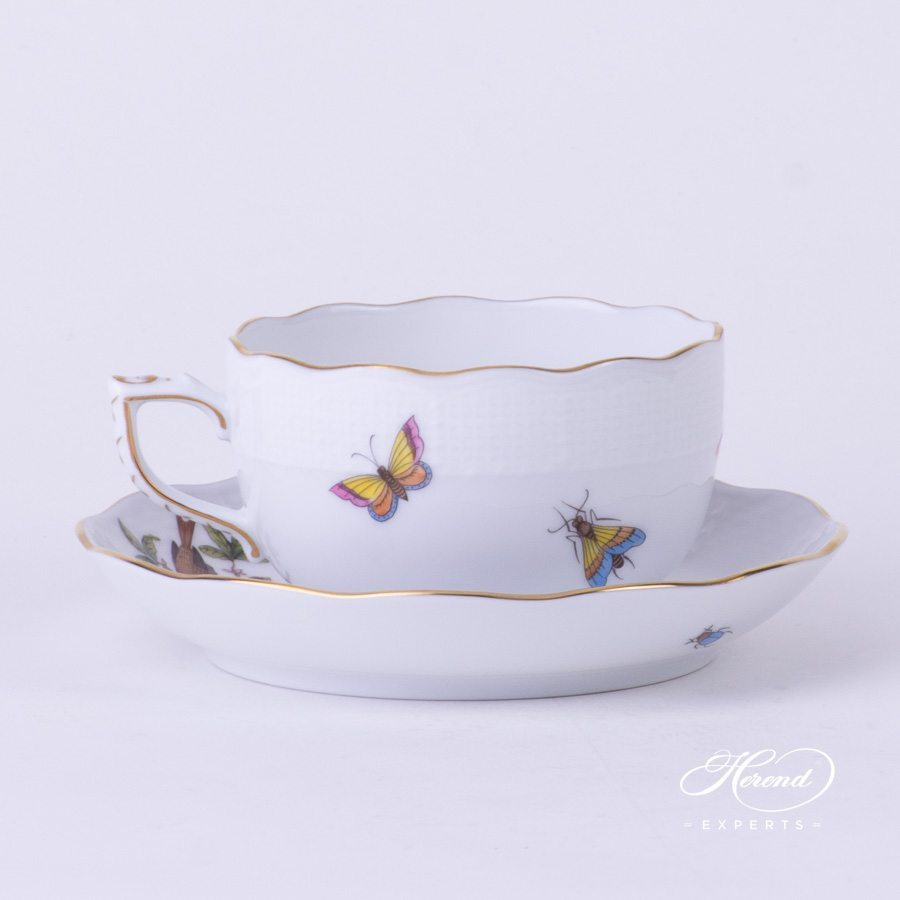 Tea Cup with Saucer 724-0-00 RO Rothschild Bird pattern - Herend porcelain hand painted.