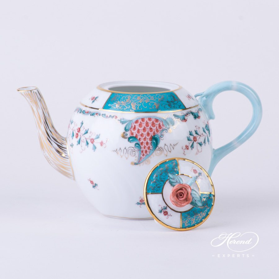 Tea Pot with Rose Knob 1605-0-09 TCA Tupini pattern. Herend porcelain hand painted
