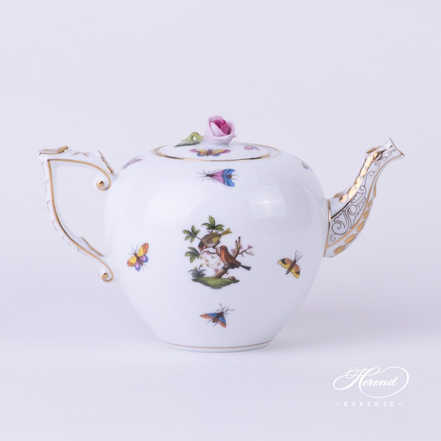 Tea Pot with Rose Knob 606-0-09 RO Rothschild Bird pattern. Herend porcelain hand painted