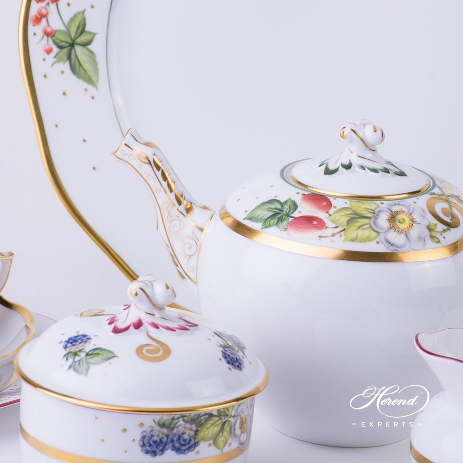 Tea Set for 2 Persons FEST Festival of Fruits pattern - Herend porcelain hand painted.