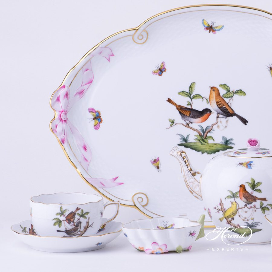 Tea Set for 2 Persons - Herend Rothschild Bird RO pattern. Herend fine china. Hand painted tableware