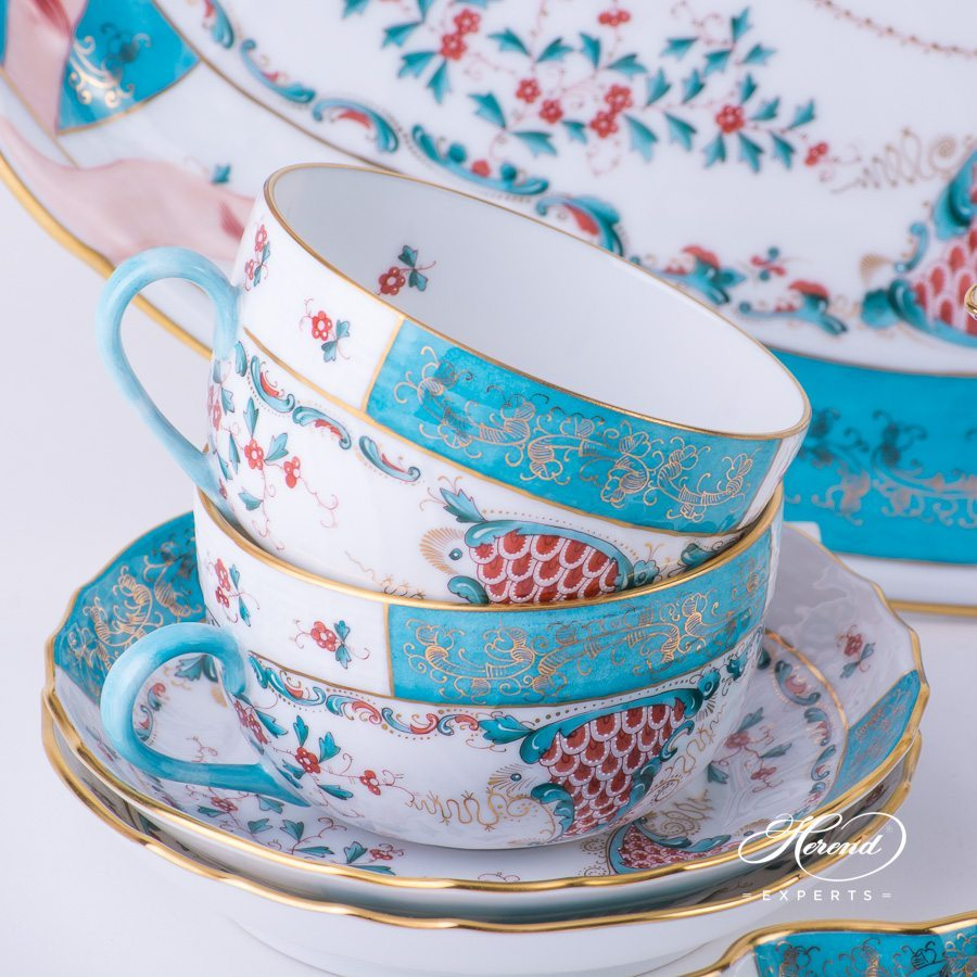 Tea Set for 2 Persons - Herend Tupini TCA pattern. Herend fine china hand painted. Luxury Herend design