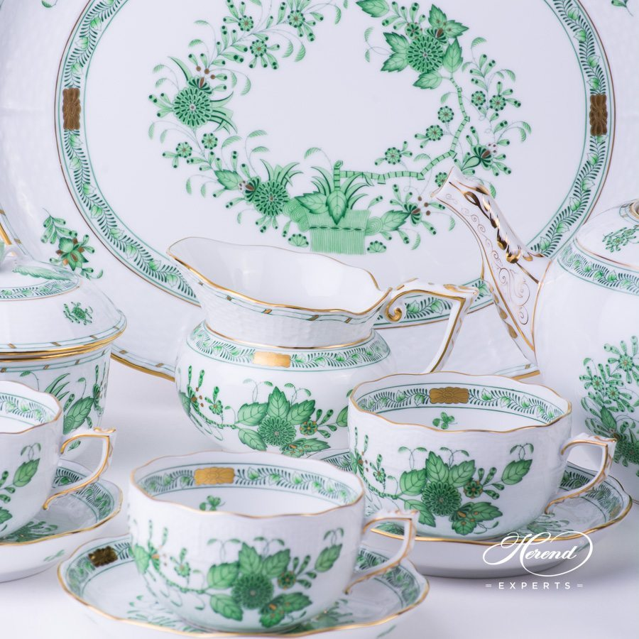 Tea Set for 4 Persons Indian Basket Green - Fleurs des Indes pattern - Herend porcelain hand painted.