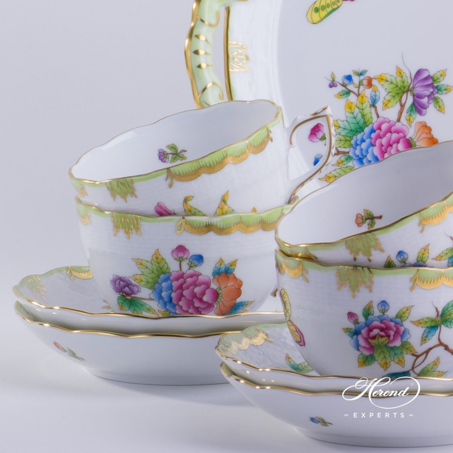 Tea Set for 4 persons Queen Victoria VBO pattern - Herend porcelain hand painted.