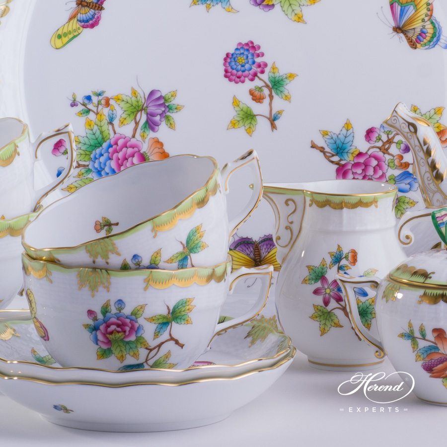 Tea Set for 4 Persons - Herend Queen Victoria VBO pattern. Herend fine china. Handpainted and handmade. Volume of Tea Cup: 3 dl (10 OZ)