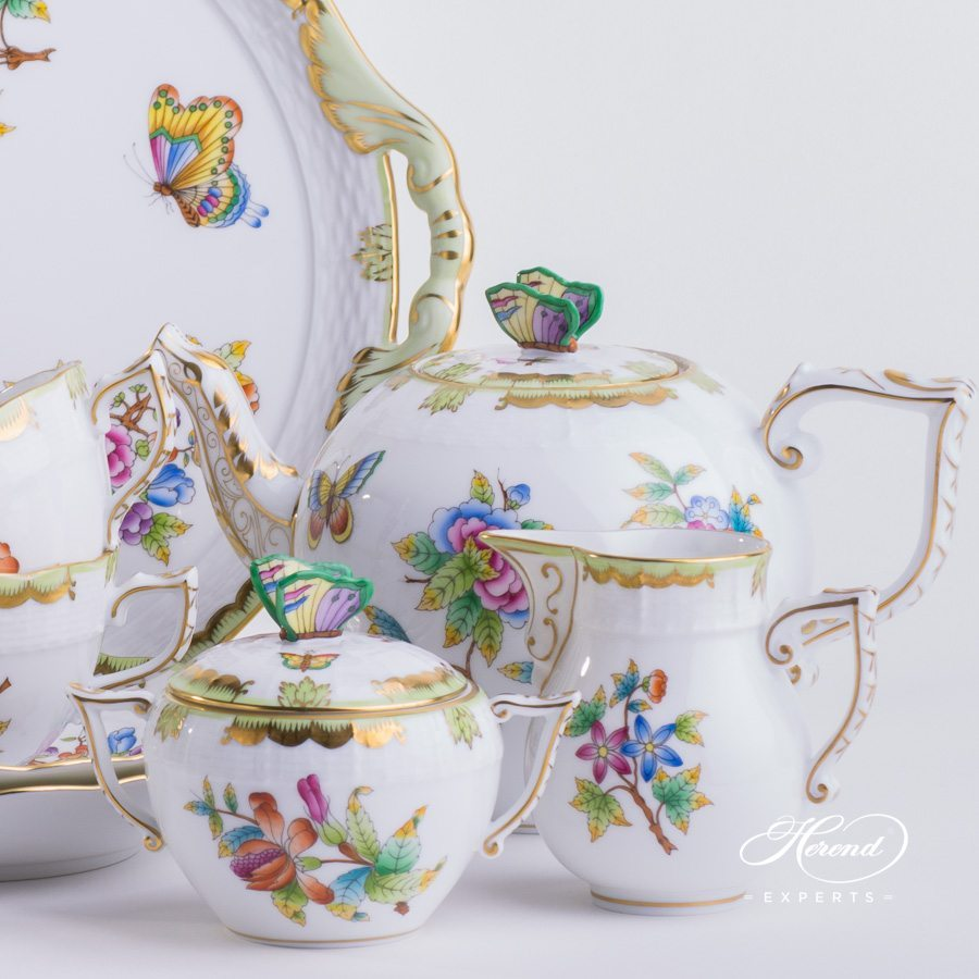 Tea Set for 6 Persons - Herend Queen Victoria VBO pattern. Herend fine china. Handpainted and handmade