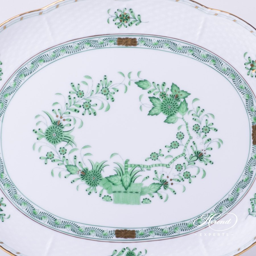 Tray Oval 417-0-00 FV Indian Basket - Fleurs des Indes green pattern - Herend fine china hand painted.