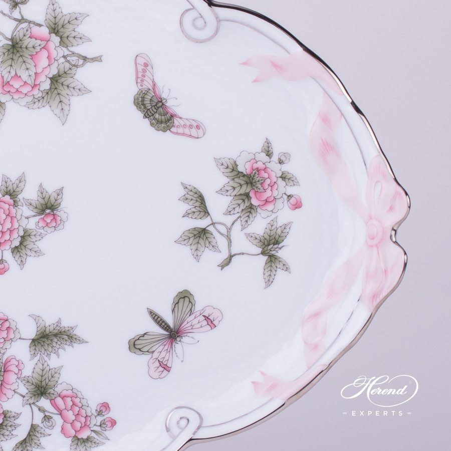 Tray w. Ribbon 400-0-00 VBOG-X1-PT Queen Victoria Platinum design. Herend fine china hand painted