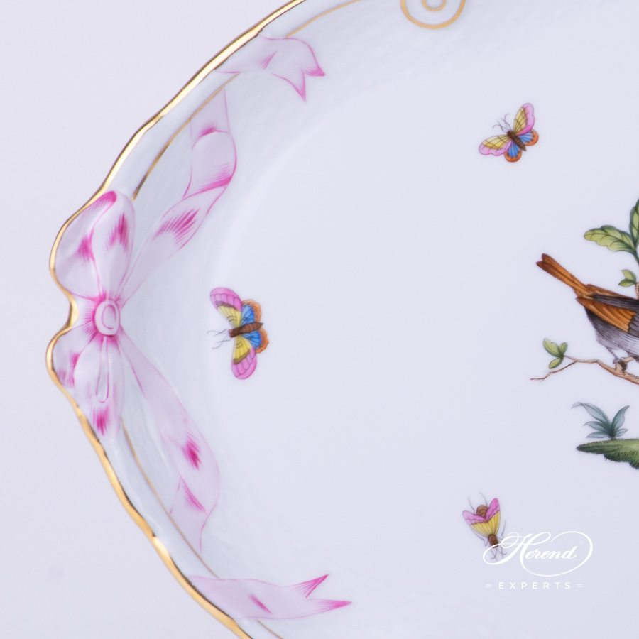 Tray w. Ribbon 400-0-00 RO Rothschild Bird pattern. Herend fine china tableware. Hand painted