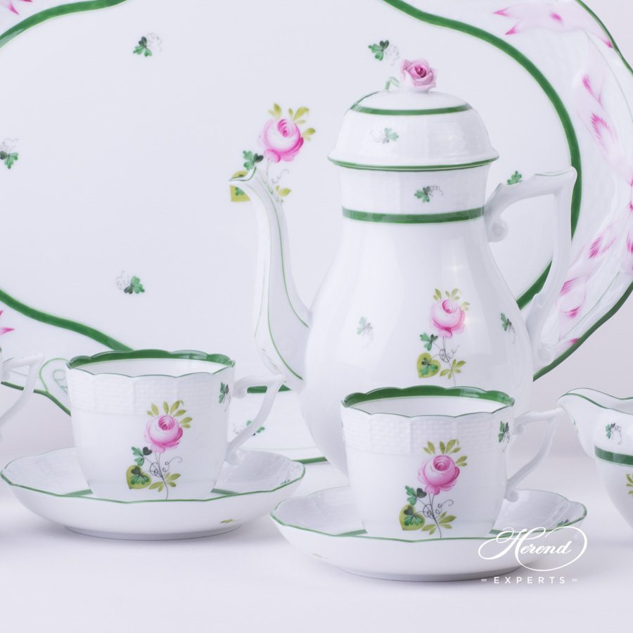 Coffee Set for 4 Persons - Herend Vienna / Viennese Rose Green VRH pattern. Herend fine china hand painted