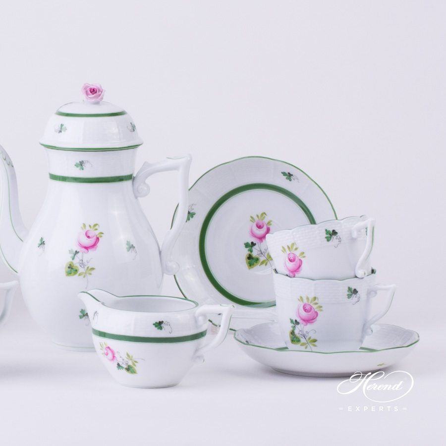 Coffee Set for 4 Persons Vienna Rose - VRH green pattern - Herend porcelain hand painted.