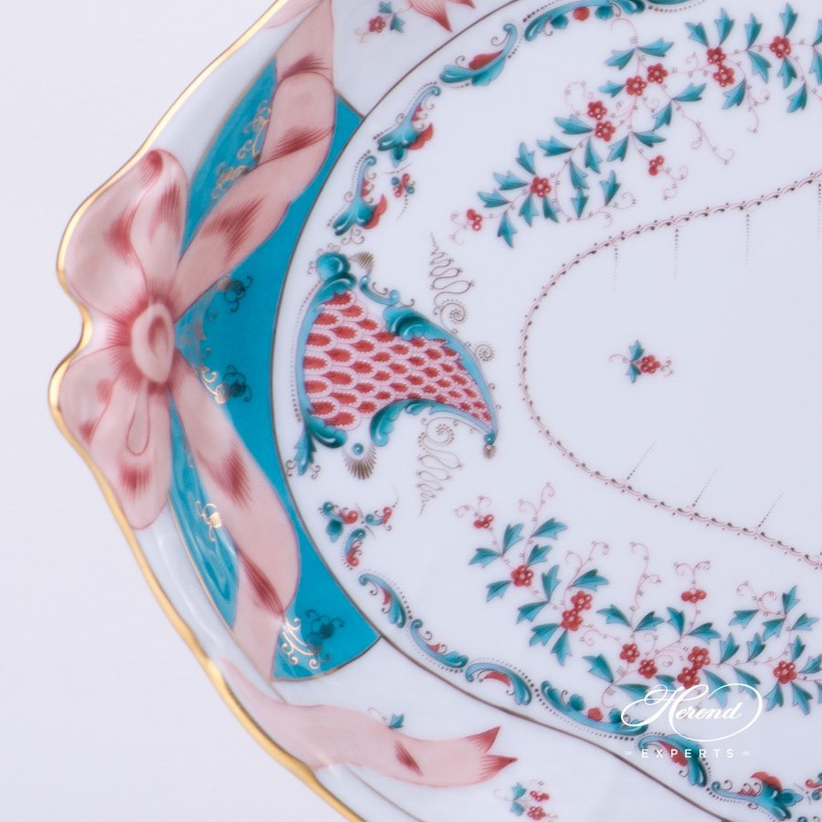 Tray w. Ribbon 1400-0-00 TCA Tupini pattern. Herend fine china hand painted tableware. Cornucopia. Luxury Herend design