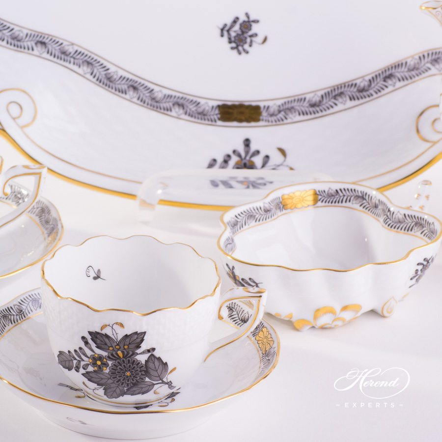 Mocha Set for 2 Persons Apponyi ANG - Chinese Bouquet Gray pattern - Herend porcelain hand painted.