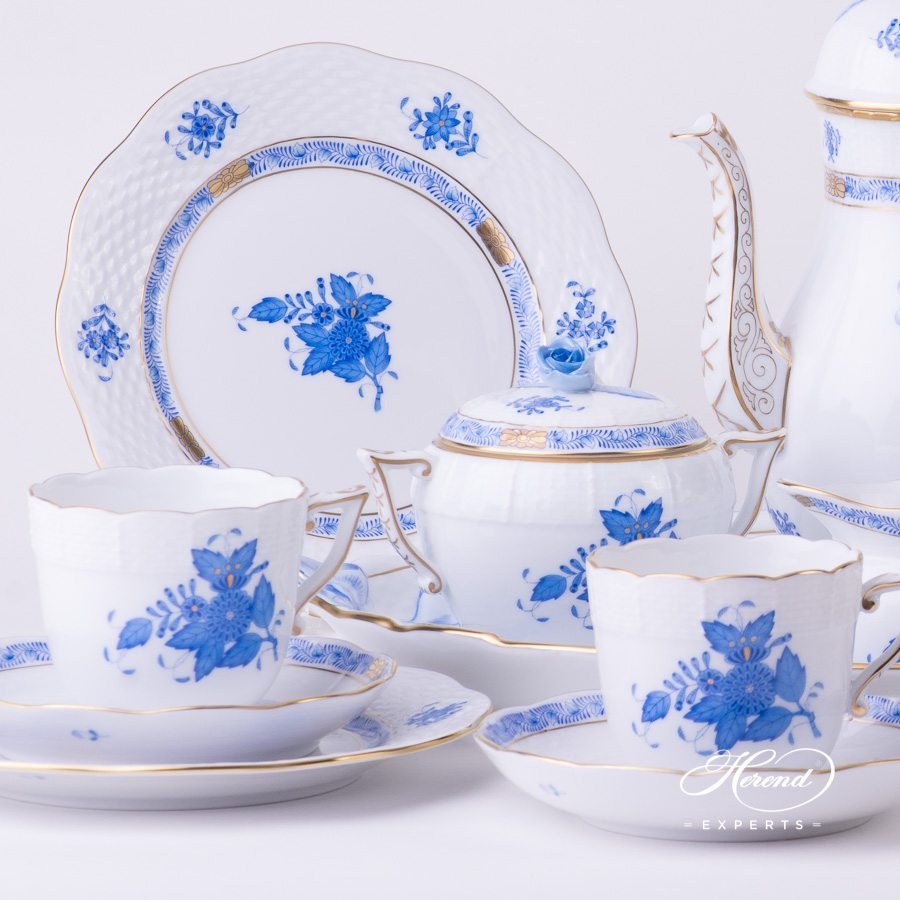 Coffee Set for 4 Persons Apponyi AB blue pattern - Herend porcelain hand painted.