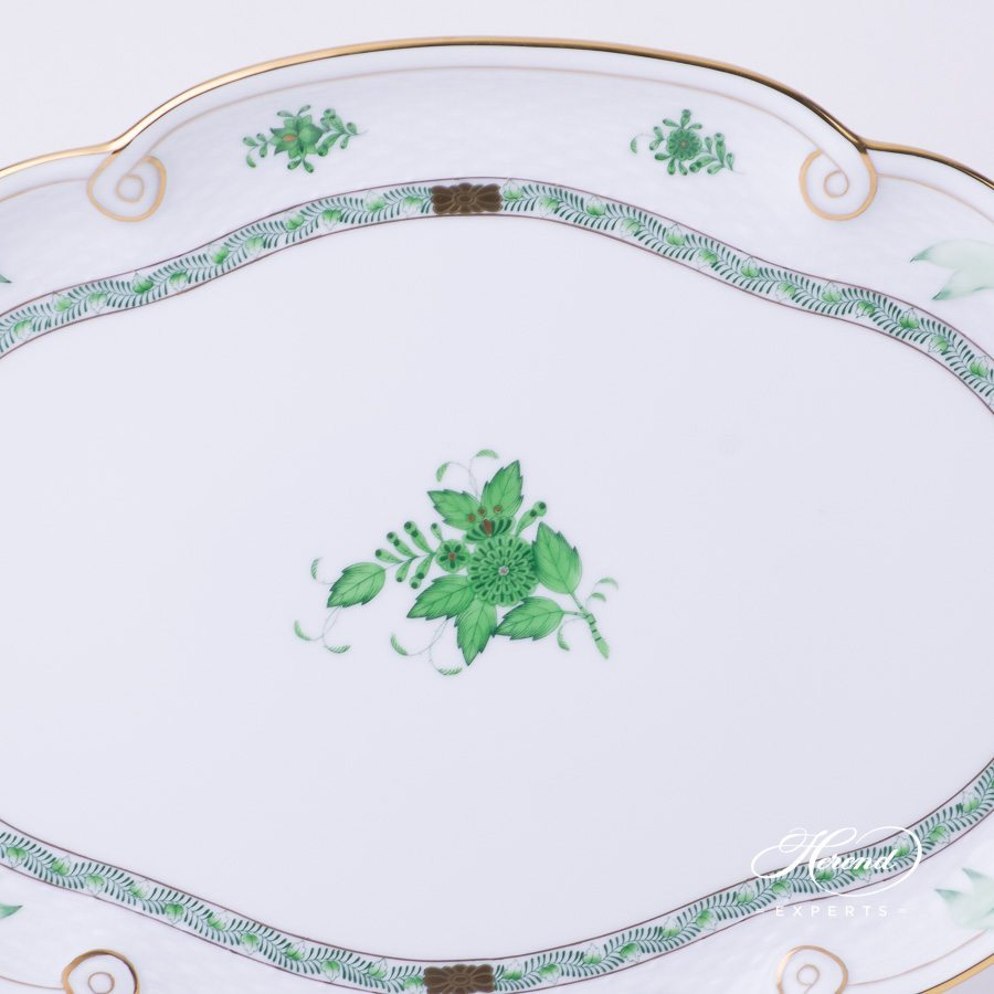 Tray with Ribbon 400-0-00 AV Chinese Bouquet Green / Apponyi Green decor. Herend porcelain hand painted
