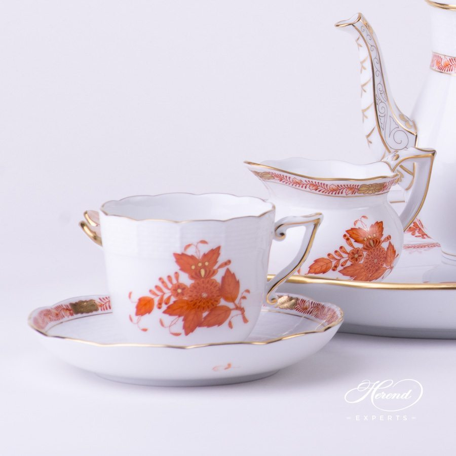 Coffee Set for 2 Persons - Chinese Bouquet Rust / Apponyi Orange decor. Herend porcelain hand painted