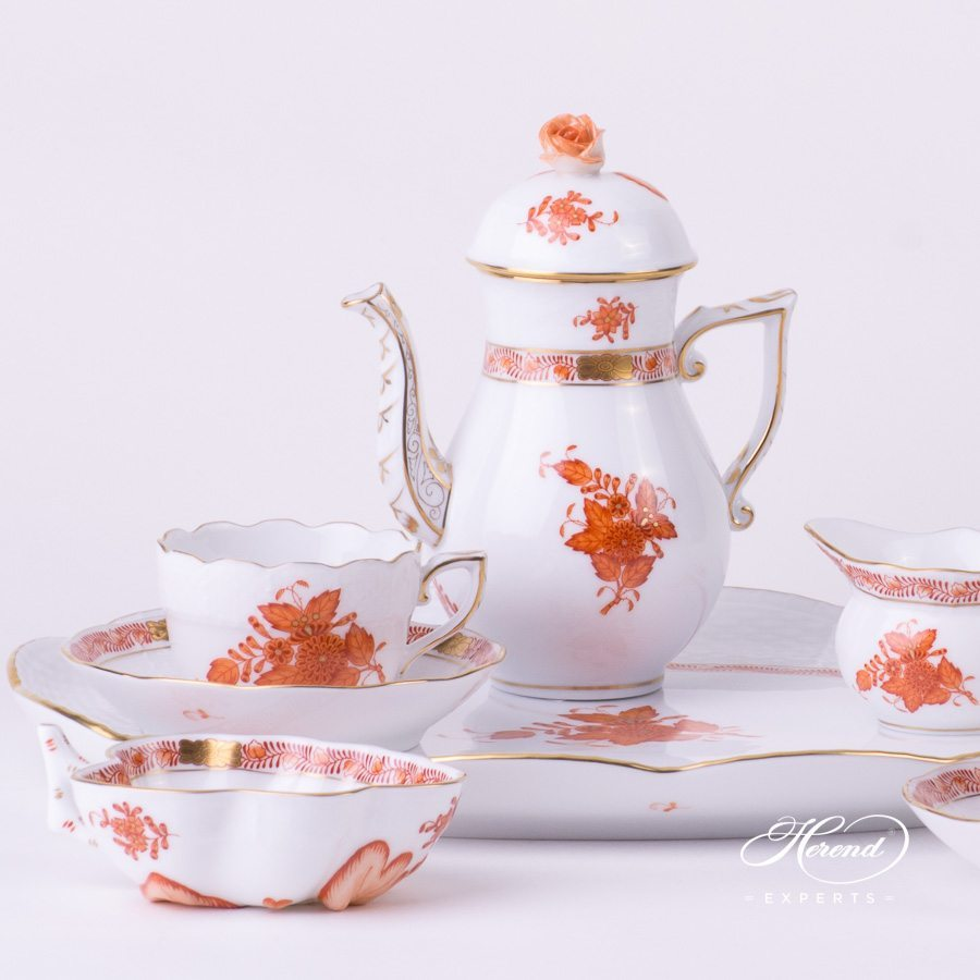 Coffee Set / Espresso Set for 2 Persons - Chinese Bouquet Rust / Apponyi Orange decor. Herend porcelain hand painted