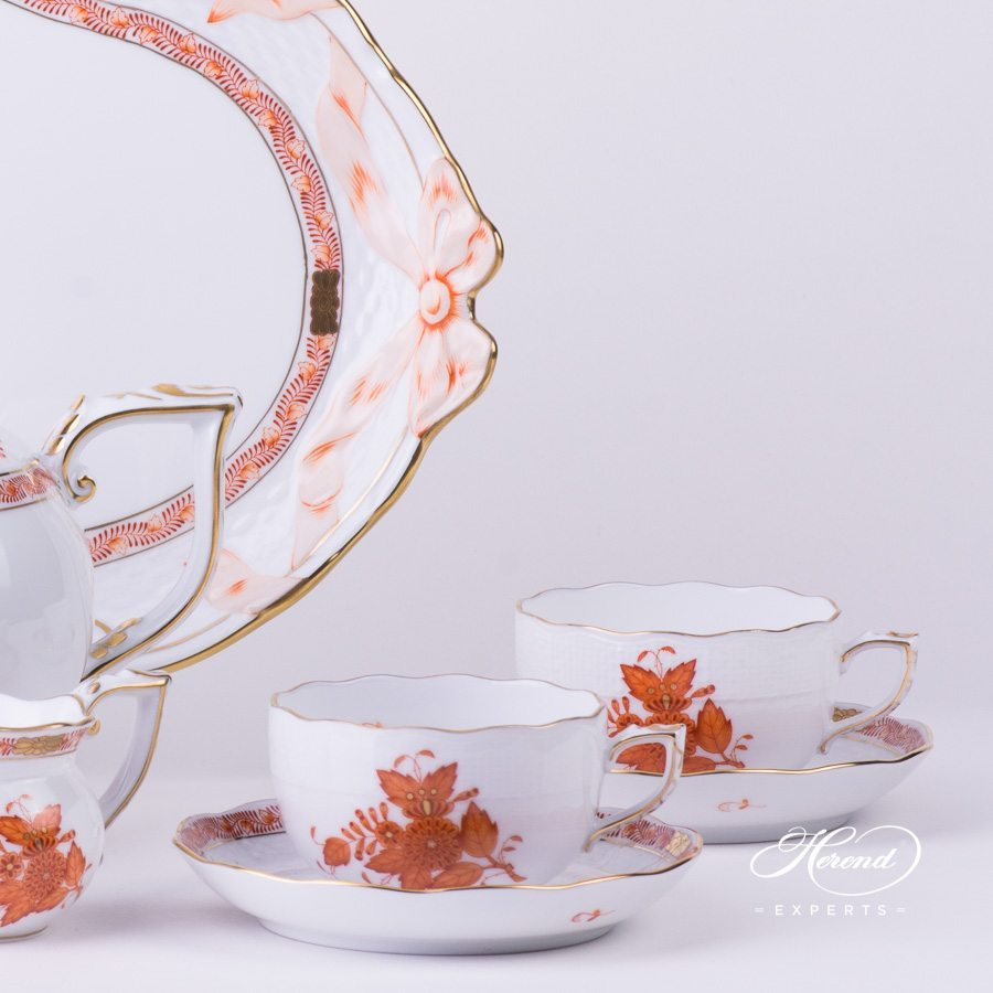 Tea Set for 4 Persons - Chinese Bouquet Rust / Apponyi Orange decor. Herend porcelain hand painted