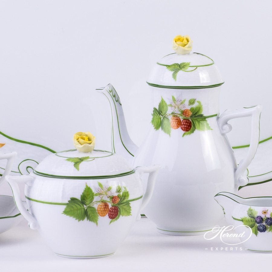 Coffee Set for 4 Persons Berried Fruits BAC pattern - Herend porcelain hand painted.