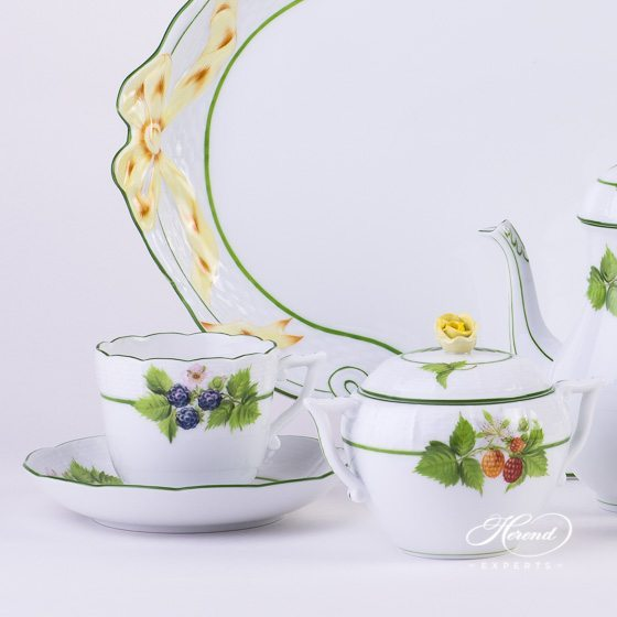 Coffee Set for 2 Persons Berried Fruits BAC pattern - Herend porcelain hand painted.