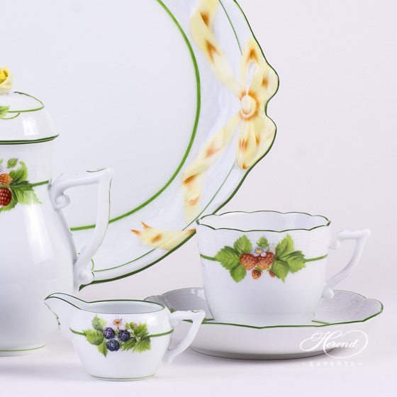 Coffee Set for 2 Person - Herend Berried Fruits BAC design. Herend fine china