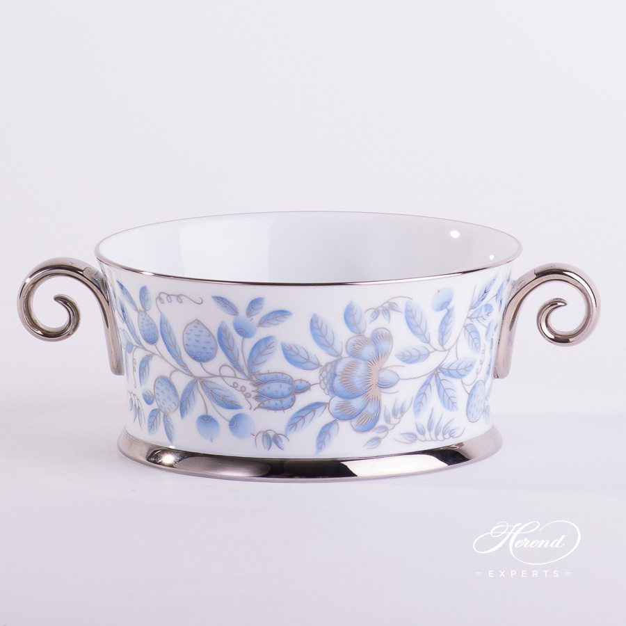 Bowl with Handles 4918-0-00 ZOBA-PT blue pattern - Herend porcelain hand painted.