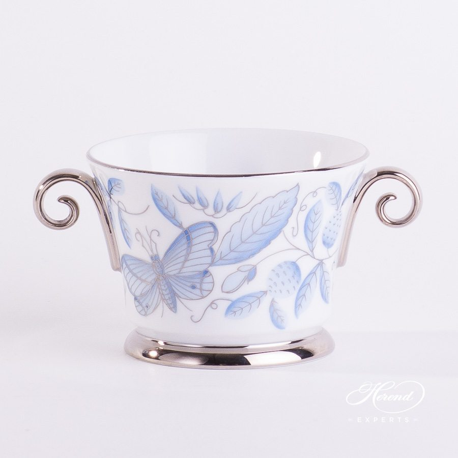Bowl with Handles 4919-0-00 ZOBA-PT blue pattern - Herend porcelain hand painted.