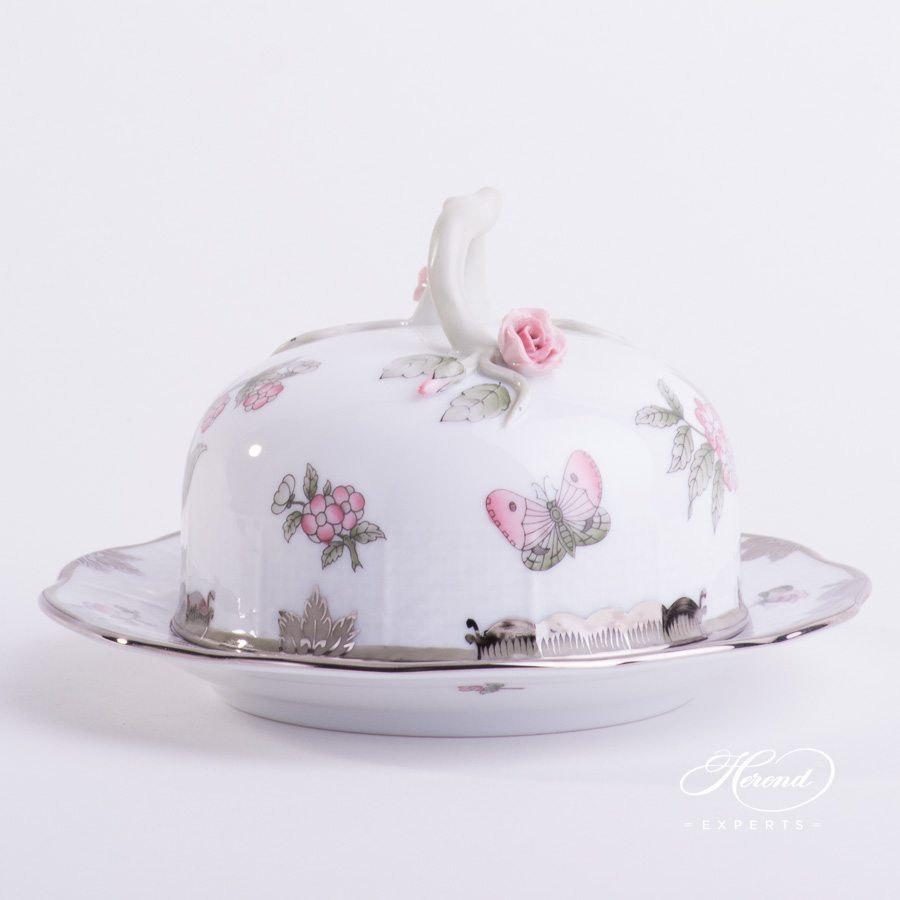 Butter Dish 393-0-02 VBOG-X1-PT Queen Victoria Platinum design. Herend fine china hand painted. Modern style tableware