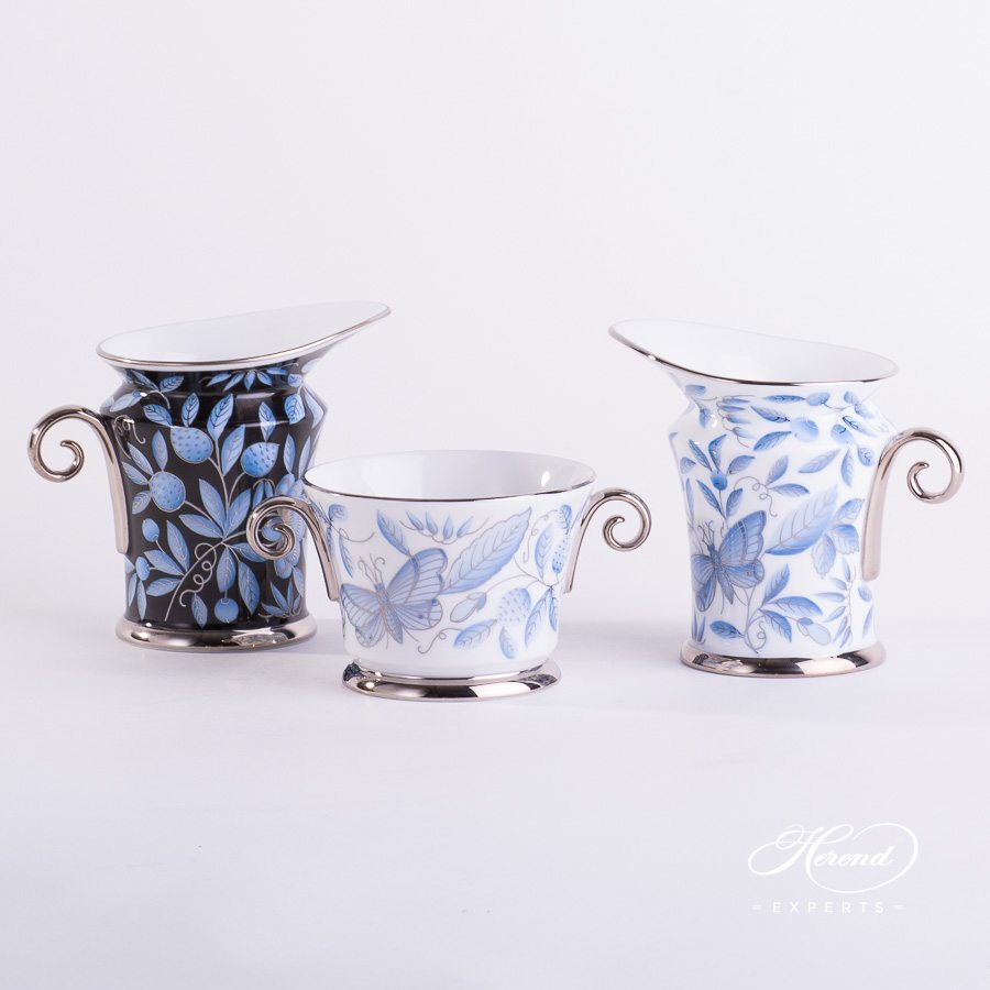 Creamer 4920-0-00 ZOBA-FN-PT and ZOBA-PT with Bowl 4919-0-00 ZOBA-PT blue pattern - Herend porcelain.