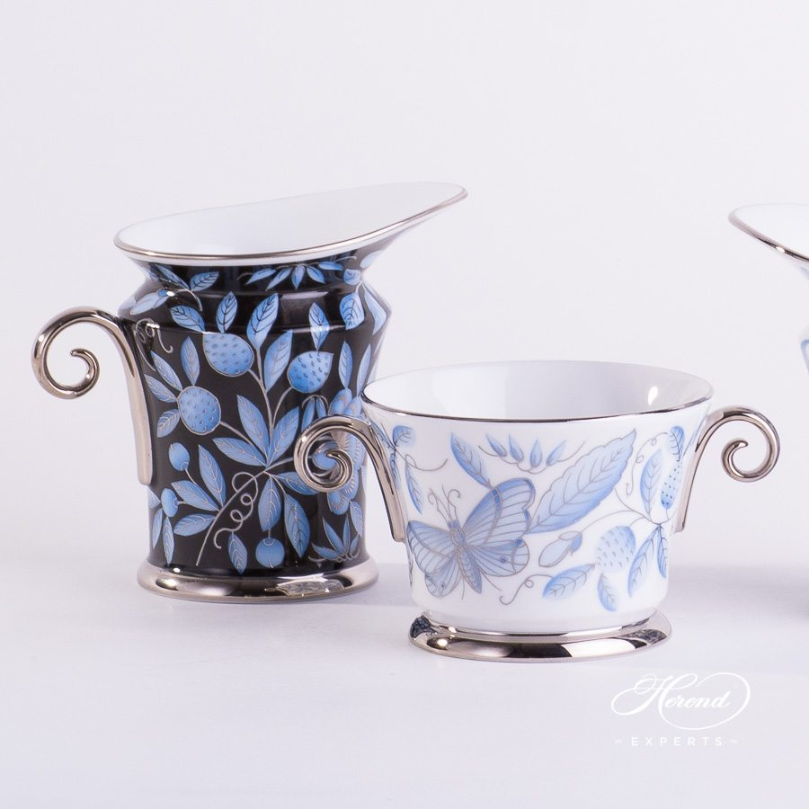 Creamer 4920-0-00 ZOBA-FN-PT and Bowl with Handles 4919-0-00 ZOBA-PT blue pattern - Herend porcelain hand painted.