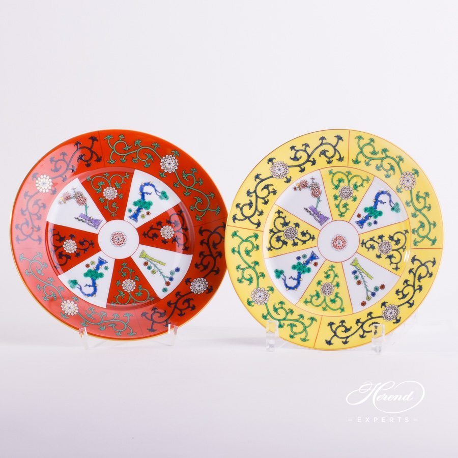 Dessert Plate 2520-0-00 G-Godollo and SJ-Siang Jaune Chinoiserie patterns. Herend porcelain tableware. Hand painted