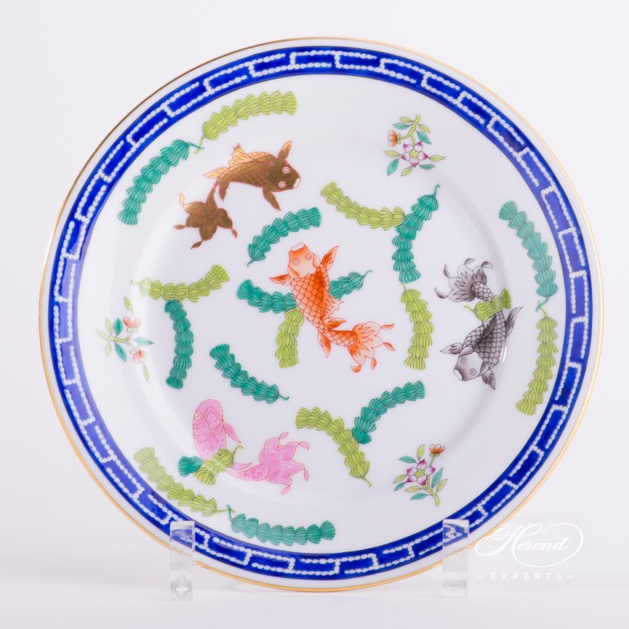 Dessert Plate 2520-0-00 PO Fishes decor. Herend porcelain hand painted. Oriental Style and Chinoiserie