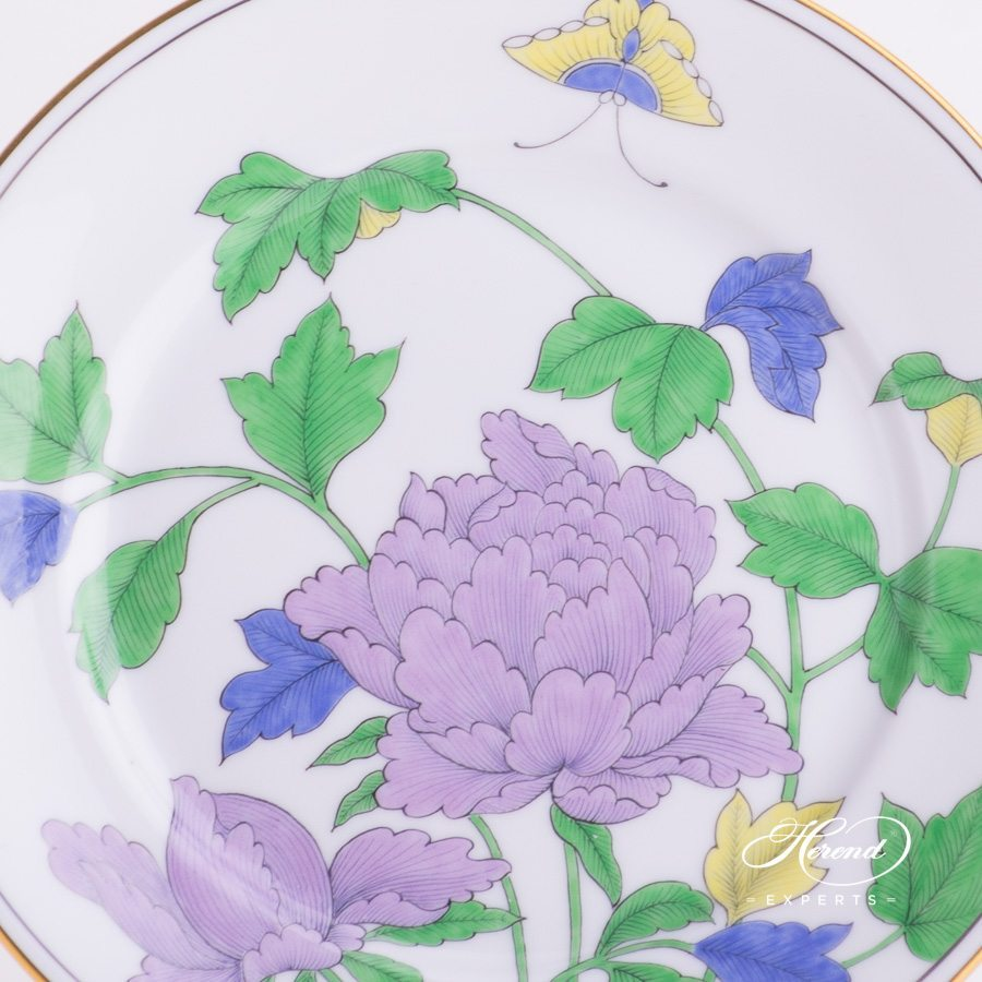 Dessert Plate 2520-0-00 PVFP Peony with Butterfly decor. Herend porcelain hand painted