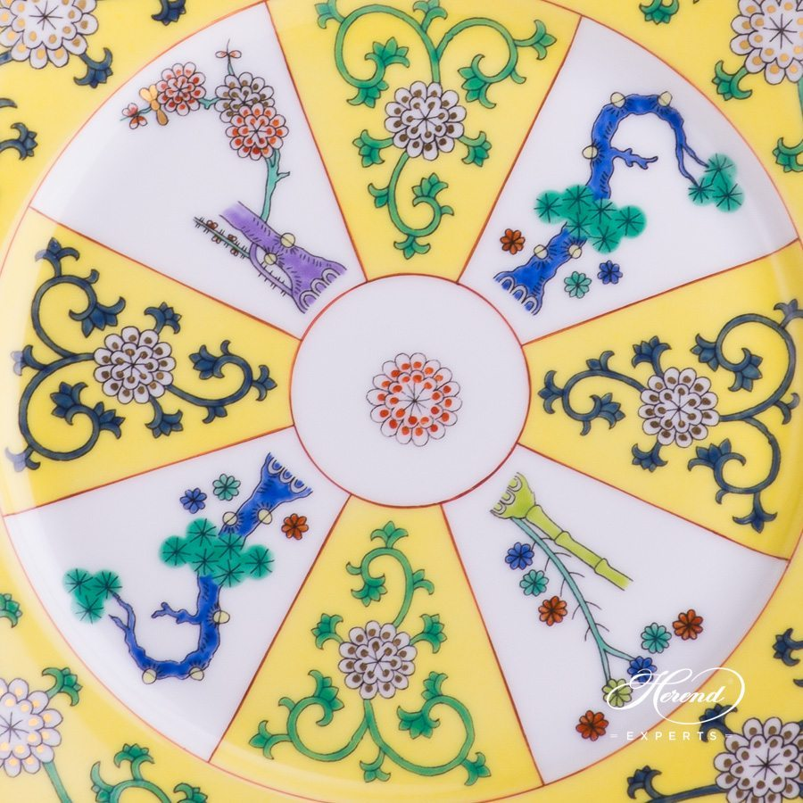Dessert Plate 2520-0-00 SJ Siang Jaune Chinoiserie pattern. Herend porcelain tableware. Hand painted