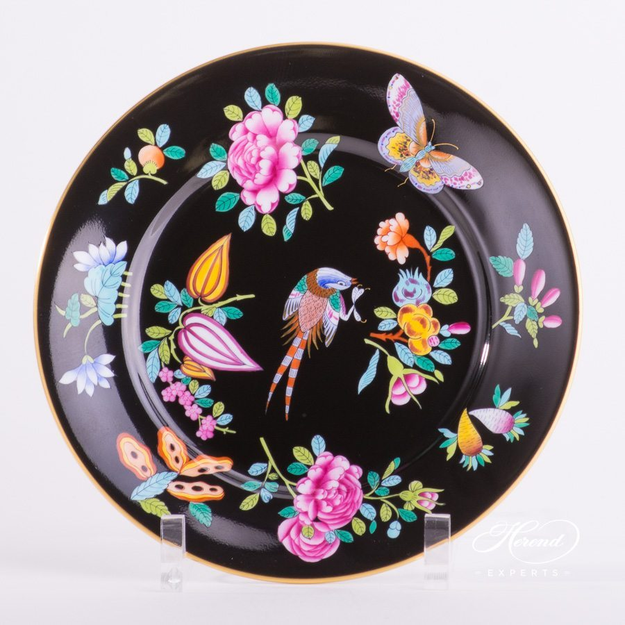 Dessert Plate Luxurious Butterfly On Black Background Herend Experts
