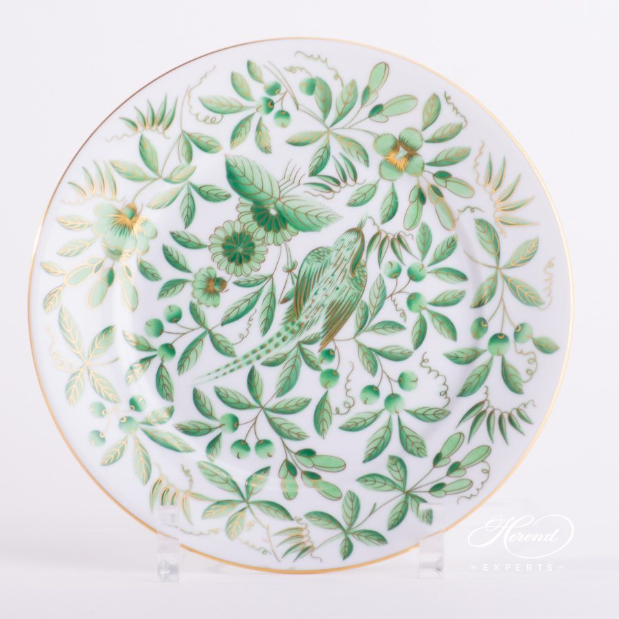 Dessert Plate 2520-0-00 ZOVA - Green ZOO decor. Herend porcelain hand painted. Oriental Style and Chinoiserie