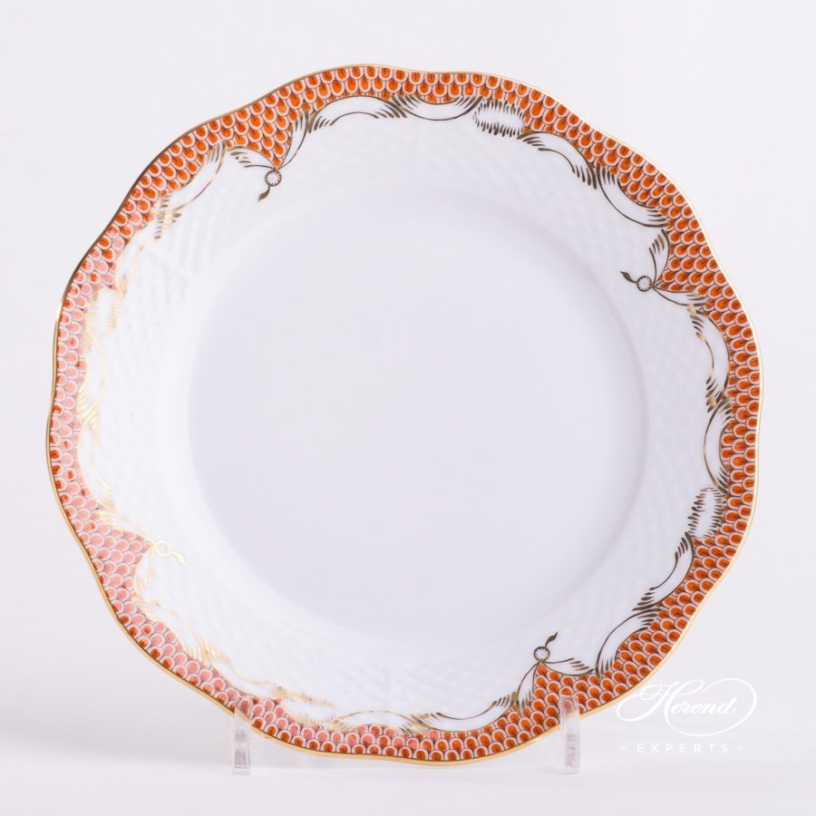 Dinner Plate 524-0-00 A-ETH Orange Fish Scale pattern - Herend porcelain hand painted.