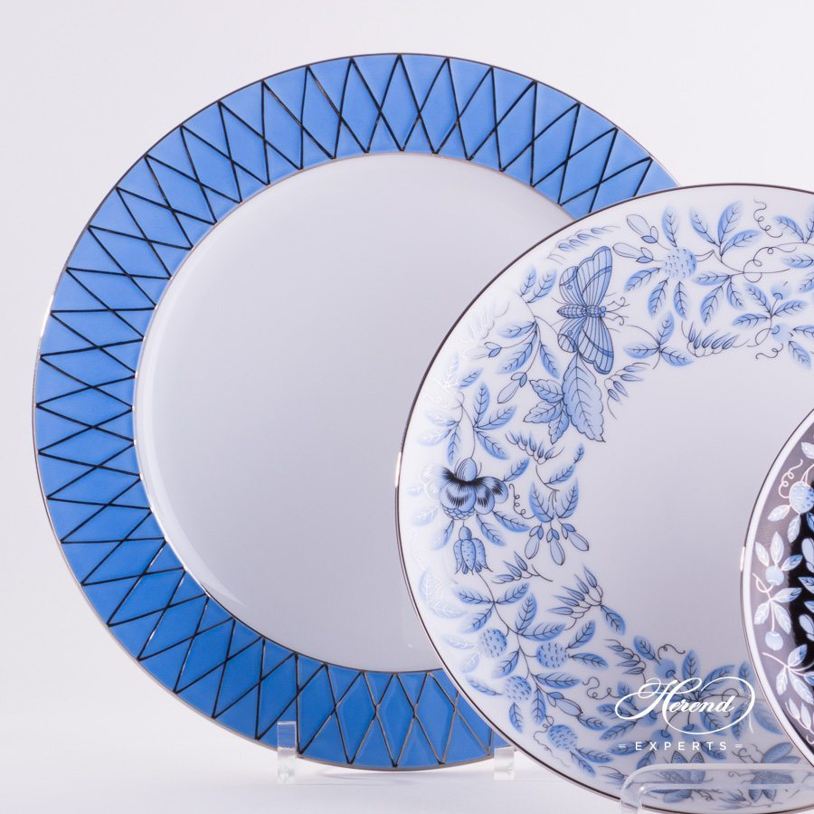 Place Setting 4 Piece Blue ZOBA pattern with Platinum rim - Herend fine china hand painted.
