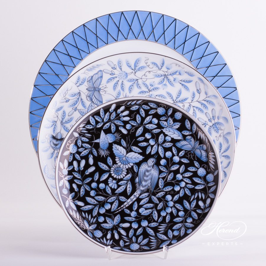 Place Setting 4 Pieces- Herend ZOBA Blue design. Herend fine china tableware. Hand painted